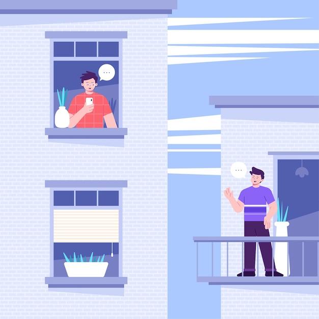 Buren op balkons quarantaine concept Gratis Vector