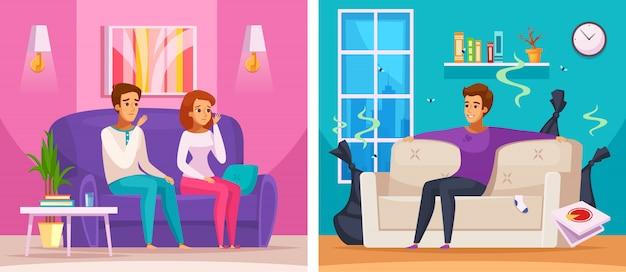Buren stinkende appartement cartoon samenstelling Gratis Vector