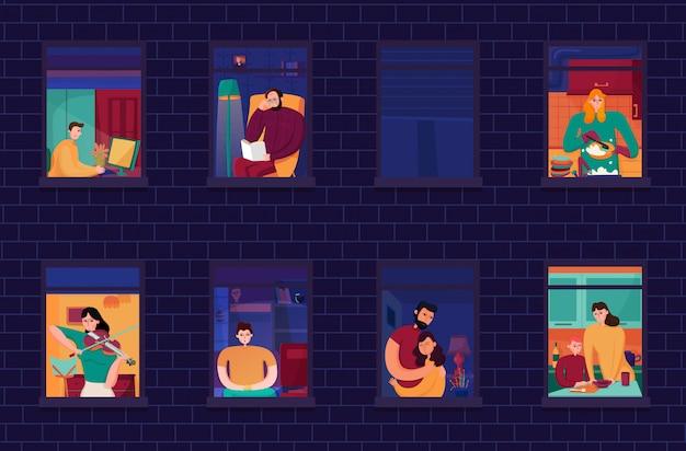 Buren tijdens avondberoepen in vensters van huis van bakstenen muurnacht Gratis Vector