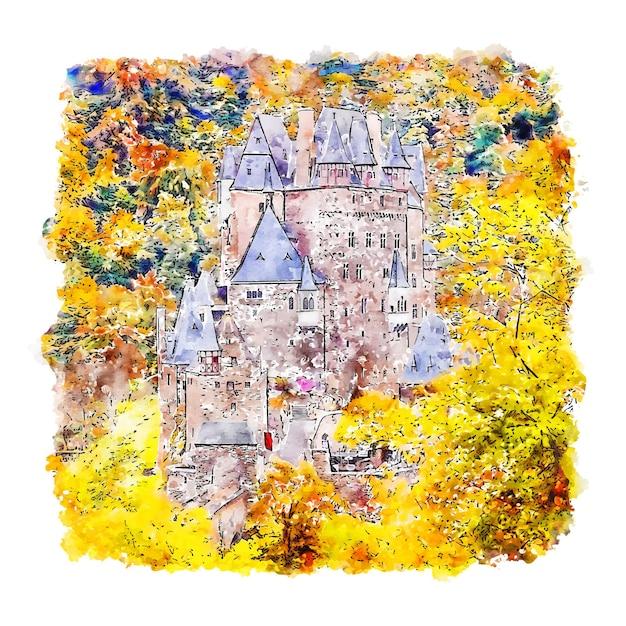 Burg eltz castle aquarel schets hand getrokken Premium Vector