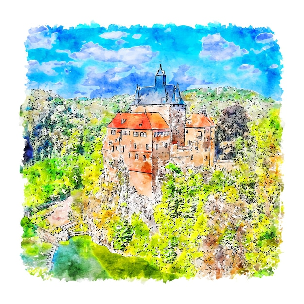 Burg kriebstein duitsland aquarel schets hand getrokken illustratie Premium Vector