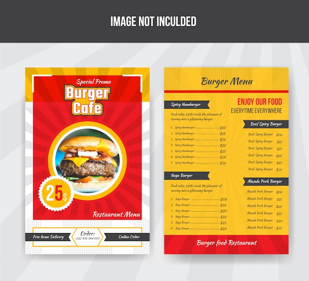 Burger cafe food menusjabloon voor restaurant Premium Vector