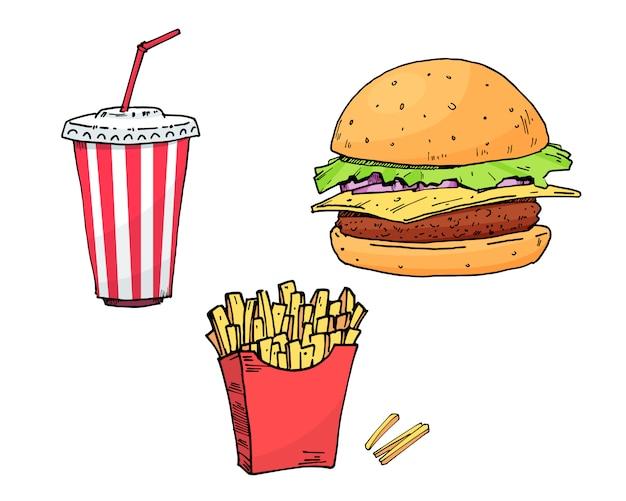 Burger. cola. aardappelvrij. set kleurrijke fastfood hand tekenen collectie element vectorillustratie Premium Vector