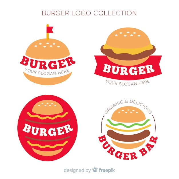 Burger logo-collectie Gratis Vector
