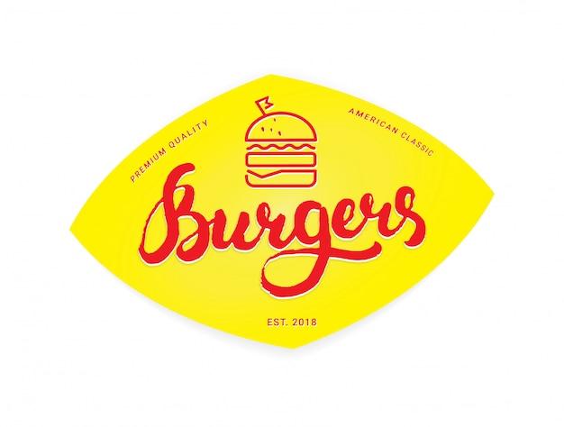 Burger logo of pictogram, embleem. overzichtsontwerp met kalligrafie letters op een gele achtergrond Premium Vector