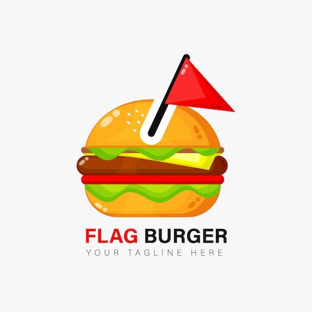 Burger logo ontwerp met vlag Premium Vector