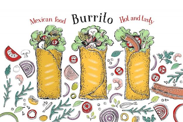 Burrito ingesteld. Premium Vector