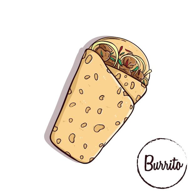 Burrito mexicaans traditioneel voedsel Premium Vector