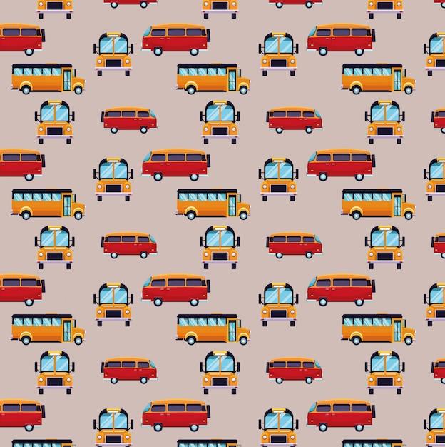 Bus en bestelwagen cartoons patroon achtergrond Gratis Vector