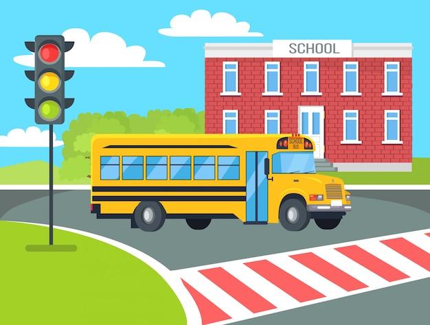 Bus stopt voor voetgangers in de buurt van schoolgebouw Premium Vector