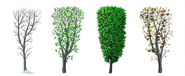 Bush en seizoen winter lente herfst zomer Premium Vector