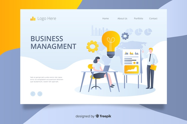 Business analyse paginasjabloon met foto Gratis Vector