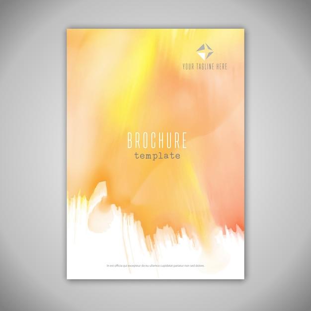 Business brochure ontwerp met aquarel textuur Gratis Vector