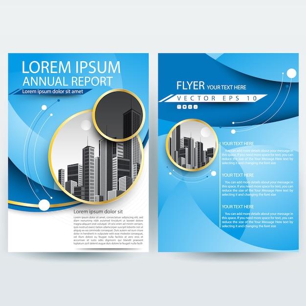 Business brochure sjabloon met blauwe curve vormen Gratis Vector