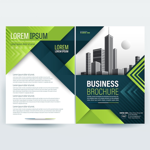 Business brochure sjabloon met groene geometrische vormen Gratis Vector