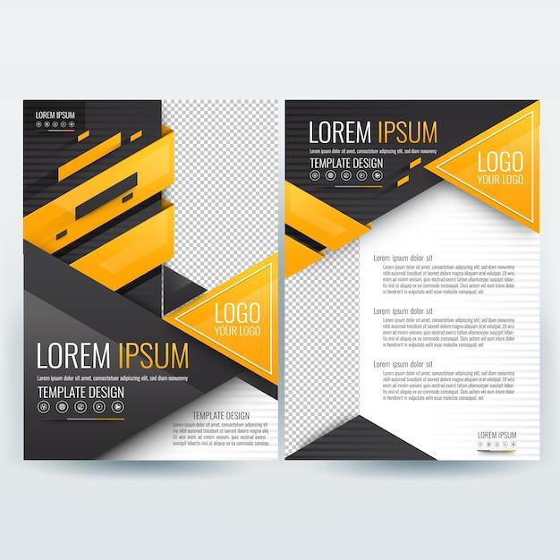 Business brochure sjabloon met oranje en zwart geometrische driehoek vormen Gratis Vector
