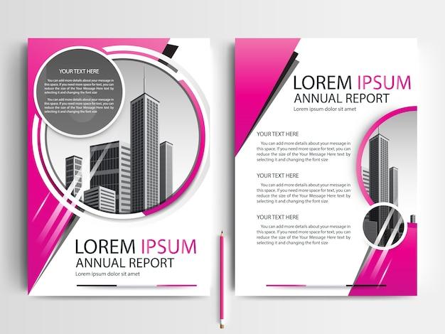 Business brochure sjabloon met pink circle vormen Gratis Vector