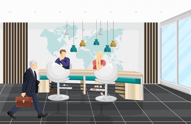 Business center illustratie. mensen bespreken projecten. platte callcenter-, bank- of technologiehubstijlen Premium Vector