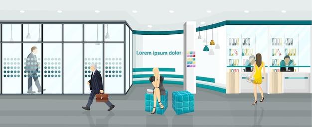 Business center illustratie. mensen lopen of bespreken projecten. callcenter, bank of technologiehub vlakke stijl Premium Vector