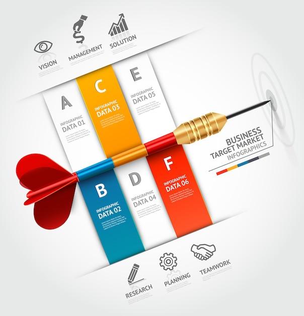 Business concept infographic sjabloon. zakelijke doelmarketing dart idee. Premium Vector