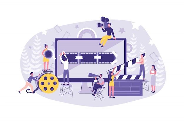 Business concept motion design studio. teamwork van clerks, designer, editor, director op individuele ontent. zakenlieden creëer en promoot hun eigen trend. Premium Vector