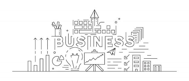 Business concept theme line art design Premium Vector