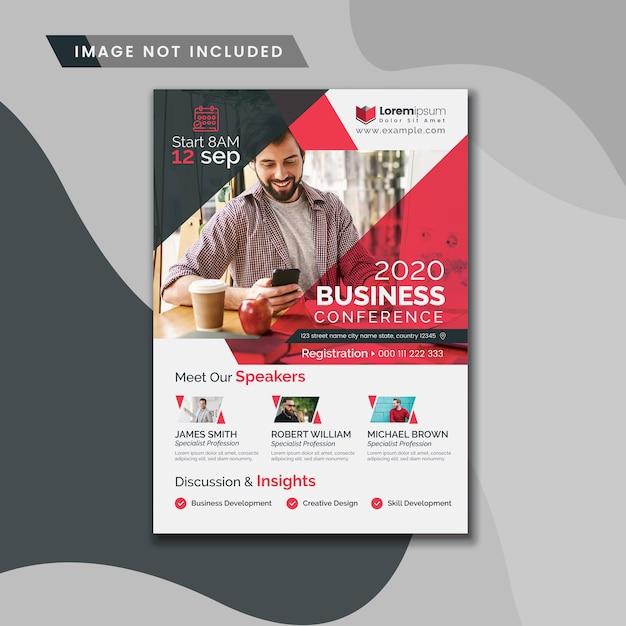 Business conference flyer met rode accenten Premium Vector