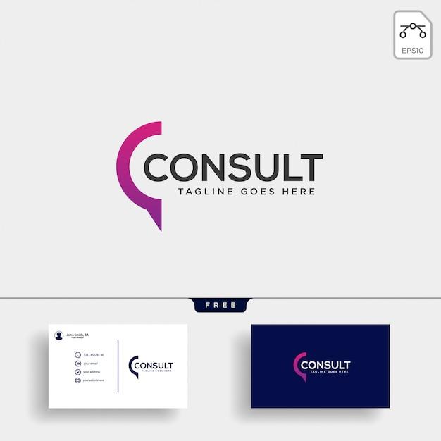 Business consult logo sjabloon Premium Vector