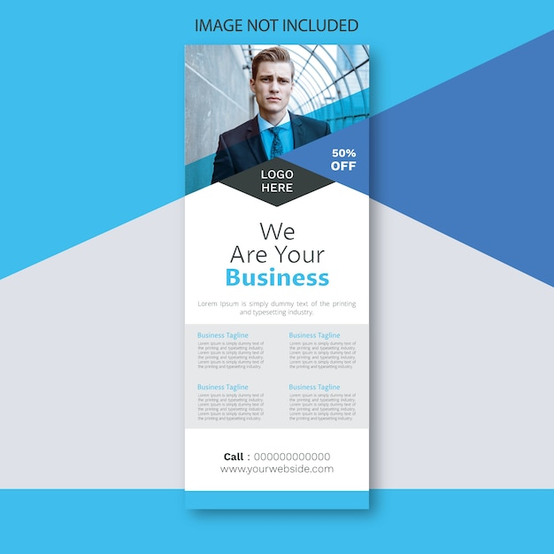 Business event roll-up banner signage standee-sjabloon Premium Vector