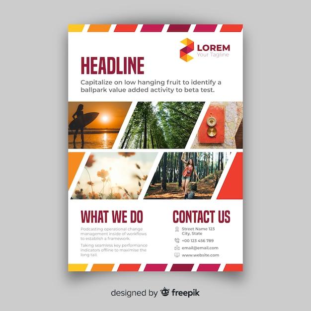 Business flyer met mozaïekfoto's Gratis Vector
