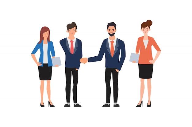 Business groep mensen teamwerk handen schudden op deals. Premium Vector