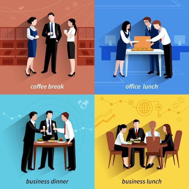Business kantoor lunchpauze en koffie pauze 4 plat pictogrammen samenstelling vierkante banner Gratis Vector