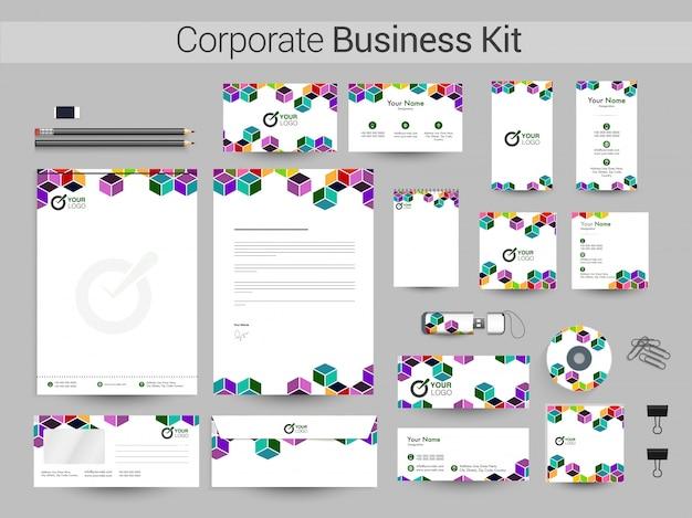 Business kit met abstracte kleurrijke kubussen. Premium Vector