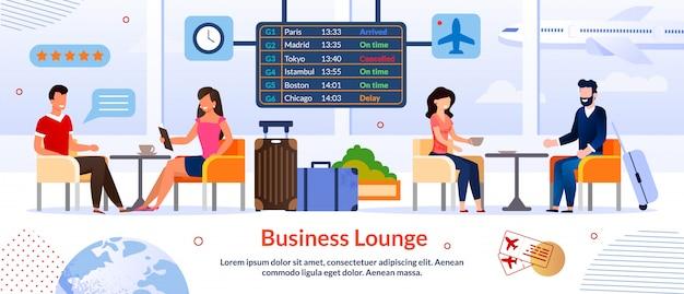 Business lounge in sjabloon voor spandoek van luchthavenreclame Premium Vector