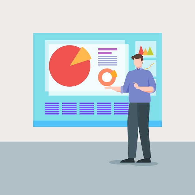 Business man presentatie diagram Premium Vector