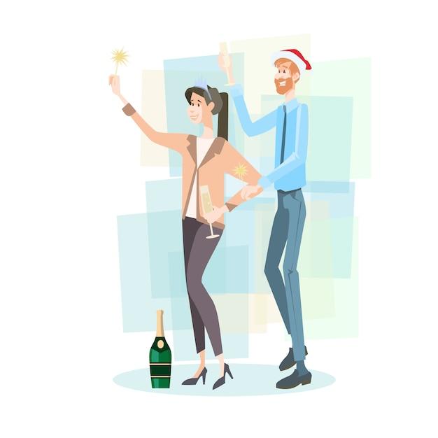Business paar vieren merry christmas Premium Vector