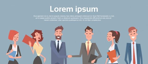 Business people group team human resources zakenman hand shake-overeenkomst Premium Vector