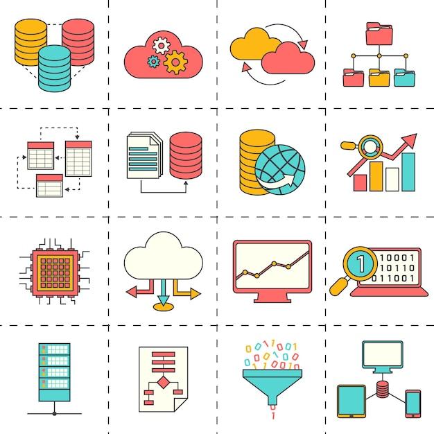 Business pictogrammen in plat design Gratis Vector