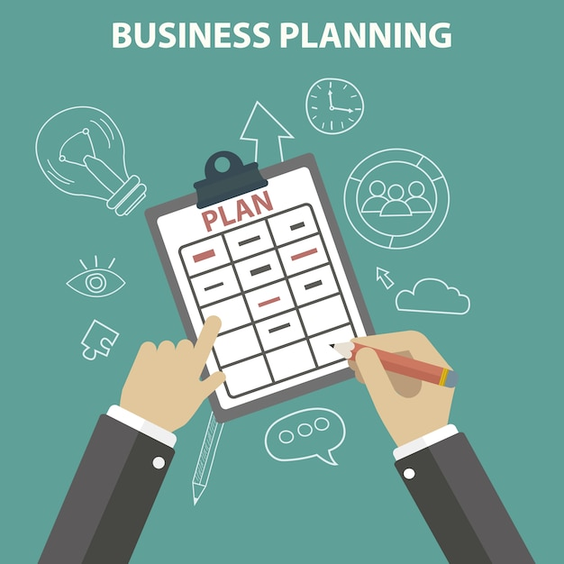 Business planning achtergrond Gratis Vector