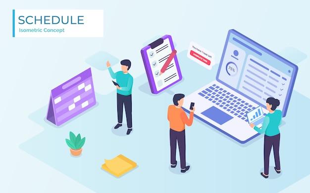 Business planning projectmanagementteam met app en notities in moderne isometrische vlakke stijl - Premium Vector