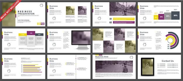 Business powerpoint-presentatie schuift sjablonen van infographic elementen. Premium Vector
