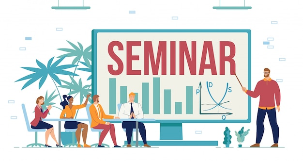 Business seminar training course for entrepreneur Premium Vector
