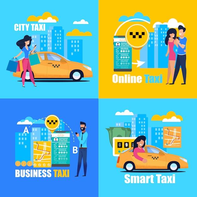 Business smart online city taxi. vierkante poster. Premium Vector