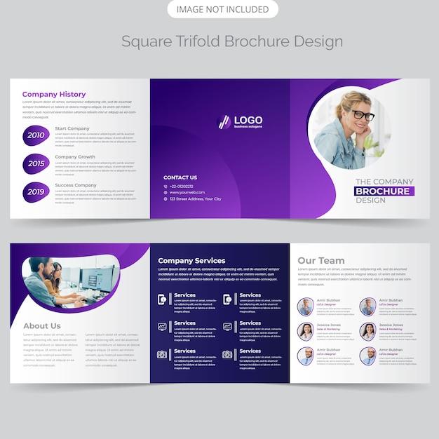 Business square trifold brochure design Premium Vector