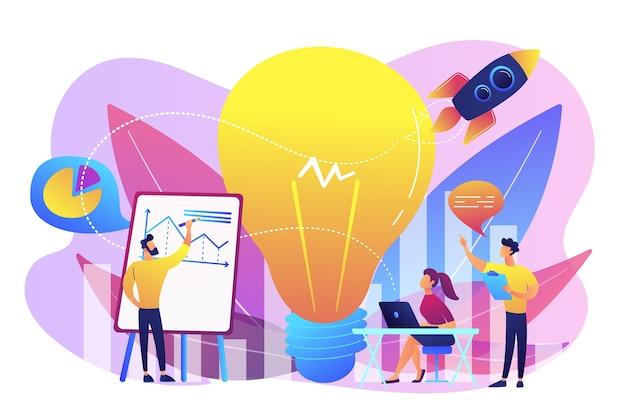 Business team brainstorm, gloeilamp en raket. visieverklaring, bedrijfs- en bedrijfsmissie, bedrijfsplanningsconcept Gratis Vector