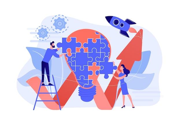 Business team doet gloeilamp van puzzel en stijgende pijl. creatief idee en inzicht, begrip, uitvindingsconcept op witte achtergrond. Gratis Vector