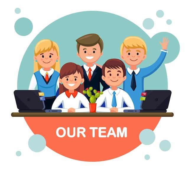 Business team kantoorpersoneel staan samen. teamwerk Premium Vector
