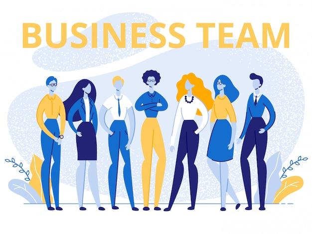 Business team office-medewerkers staan in rijbanner Premium Vector
