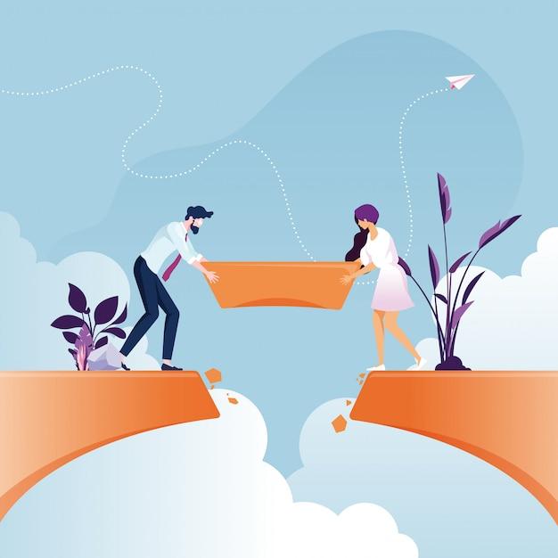 Business teambuilding brug over klif kloof zakelijk teamwork concept Premium Vector