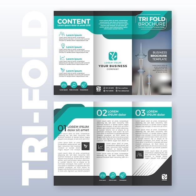 Business tri-fold brochure sjabloon ontwerp met turkoois kleurenschema in A4 formaat met bloeden Gratis Vector